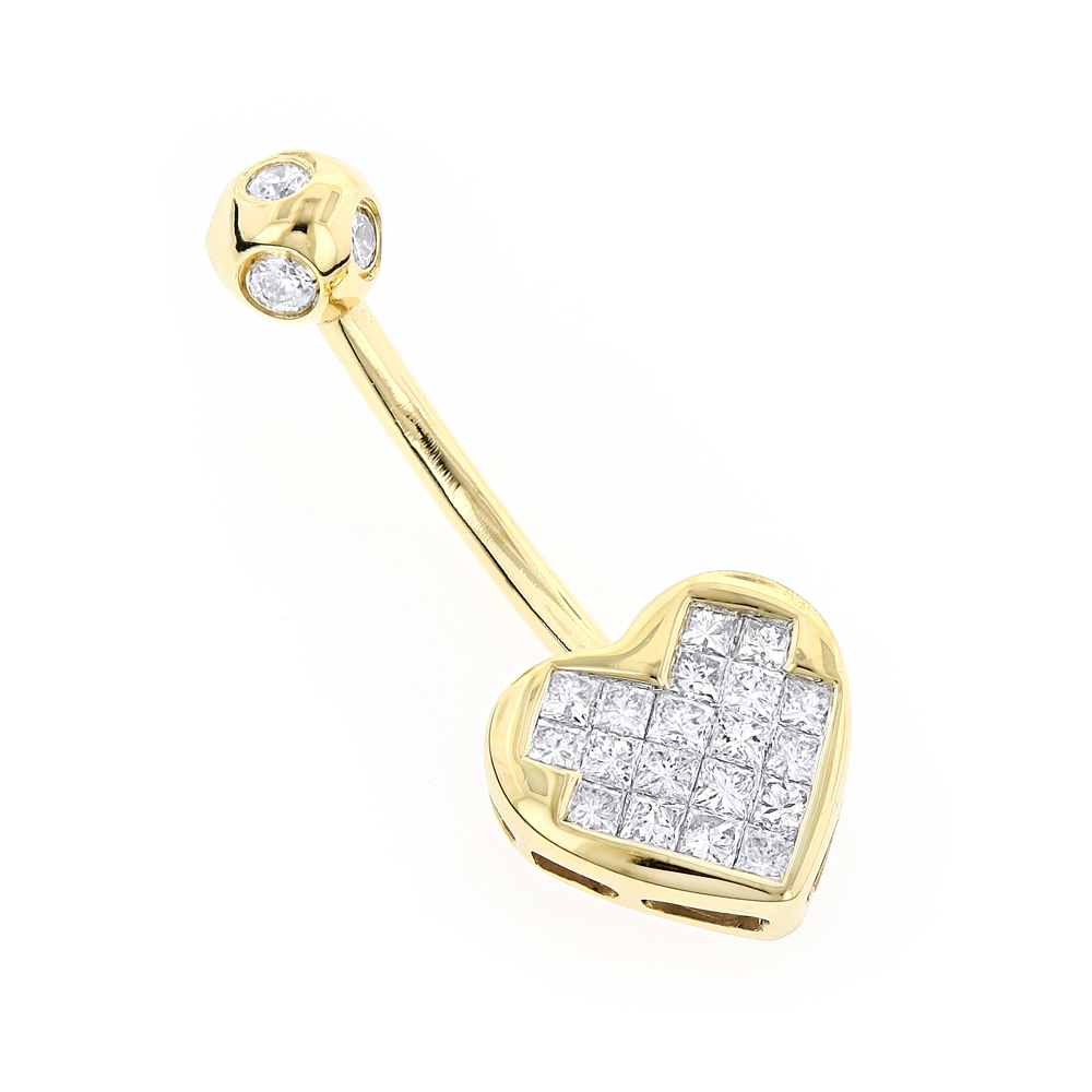 Heart Shaped 14k Gold Diamond Belly Button Ring 0 66ct