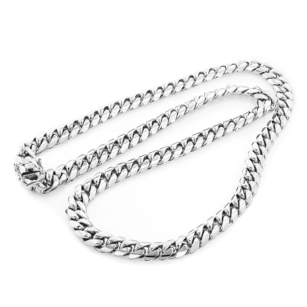 Heavy Sterling Silver Miami Cuban Link Chain Necklace 22-40in 11mm Main Image