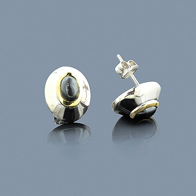 Hematite 18K Gold and Sterling Silver Earrings