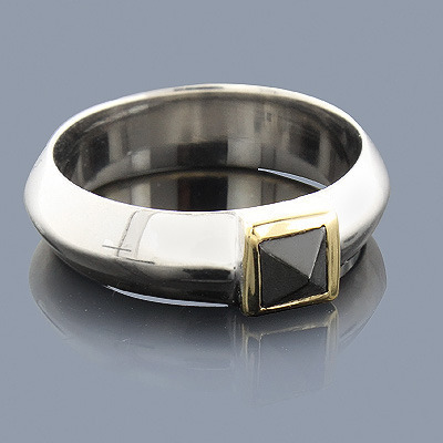 Hematite Ring in Sterling Silver 18K Gold