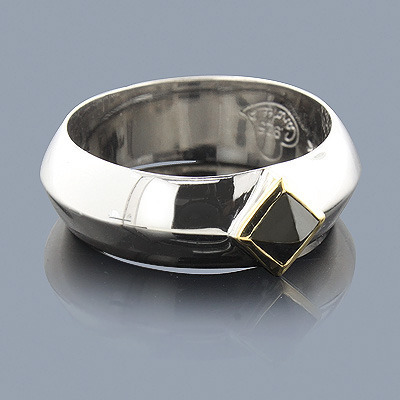 Hematite Ring in Sterling Silver 18K Gold Main Image