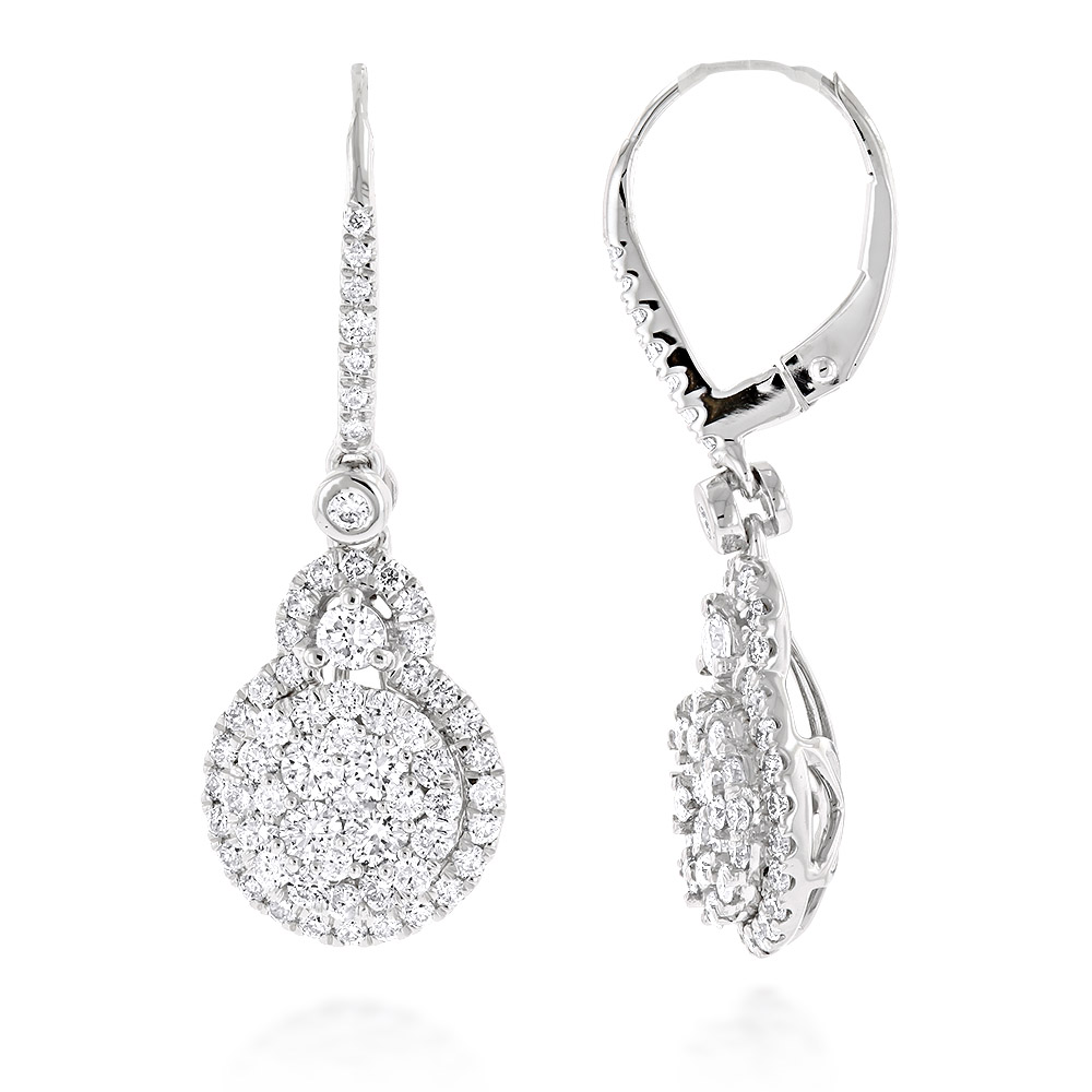 High End 14K Gold Ladies Cluster Diamond Drop Earrings 2.25ct by Luxurman White Image