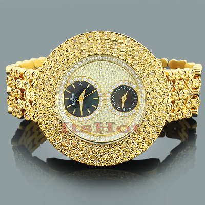 hip hop bling watches time mens 2 carats