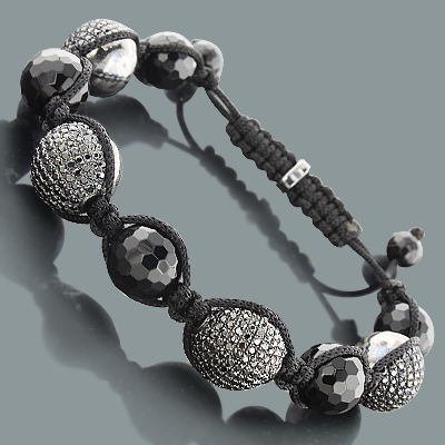 Hip Hop Bracelets: Disco Ball Bracelet with Black Crystals Main Image