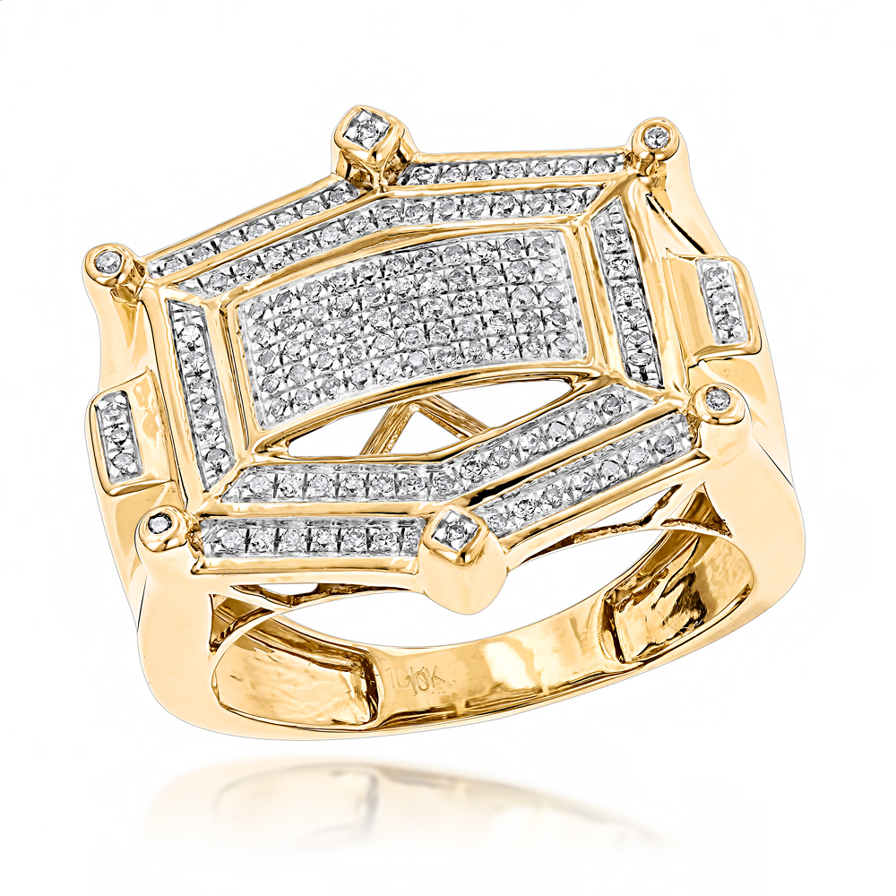 Hip Hop Diamond Ring For Men 10K White or Yellow Gold 0.35ct.