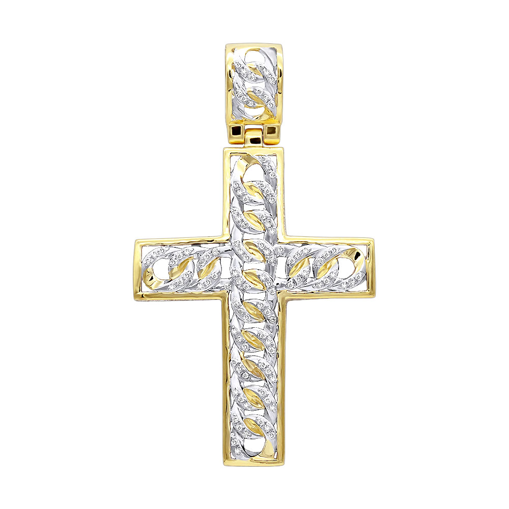 Hip Hop Jewelry 10k Gold Cuban Link Chain Diamond Cross Pendant for Men Yellow Image
