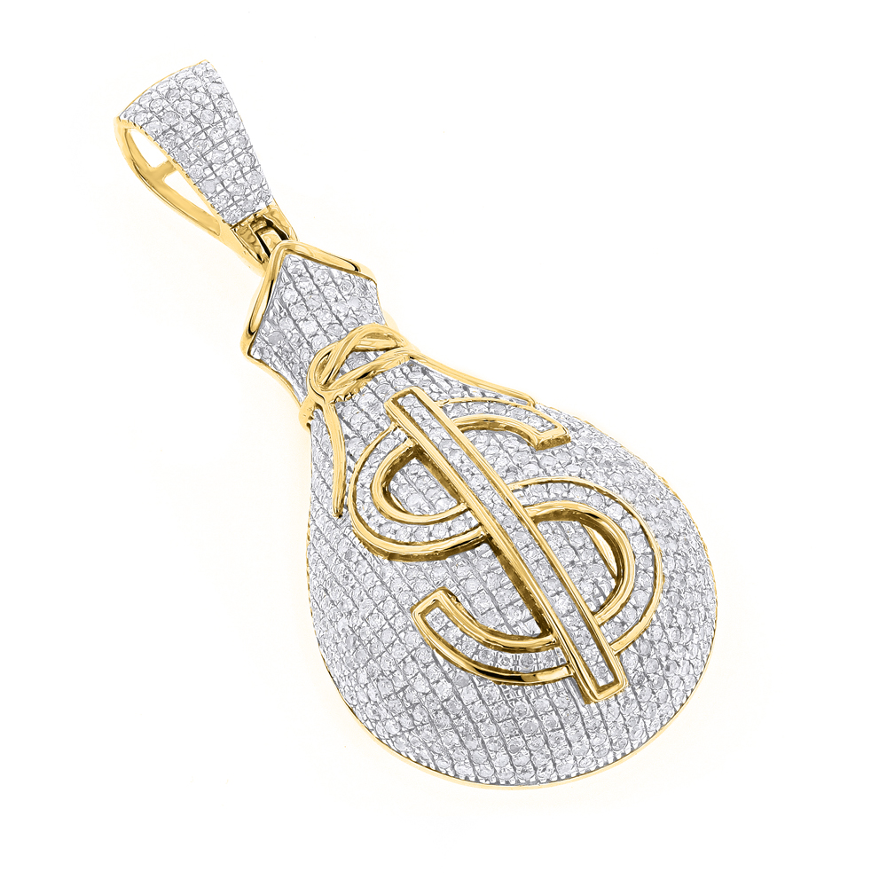 Hip hop jewelry 10k gold diamond money bag pendant 115ct aloadofball Image collections