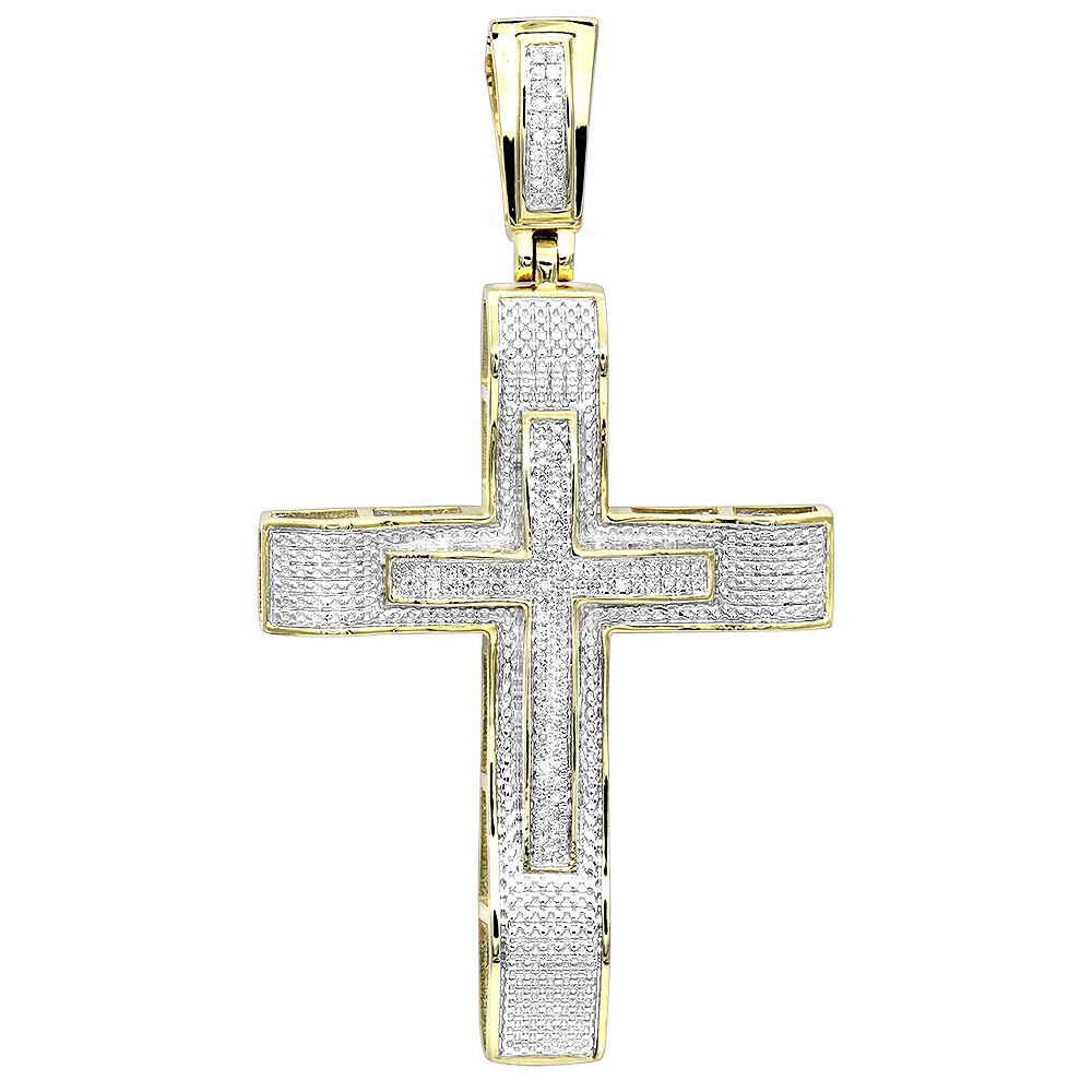 Hip Hop Jewelry 10K Gold Large Diamond Double Cross Pendant for Men 0.4ct Yellow Image