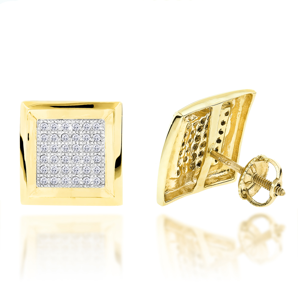 Hip Hop Jewelry: 10K Gold Pave Diamond Square Stud Earrings 0.39ct Yellow Image