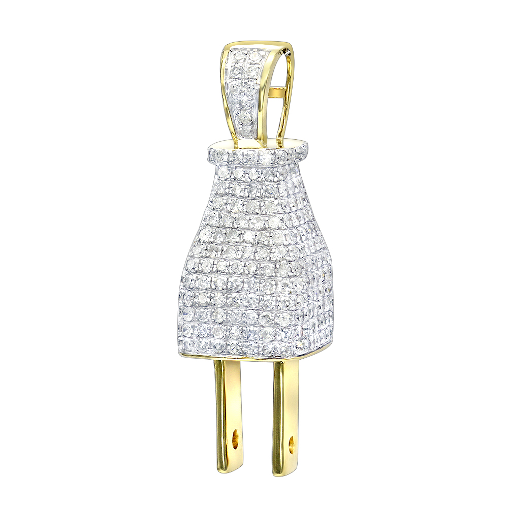 Hip Hop Jewelry 3D Real Gold and Diamond Power Plug Pendant for Men 10K Yellow Image