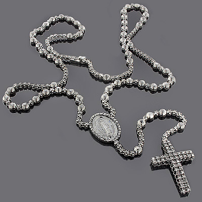 Hip Hop Jewelry: Black Diamond Rosary Chain Necklace