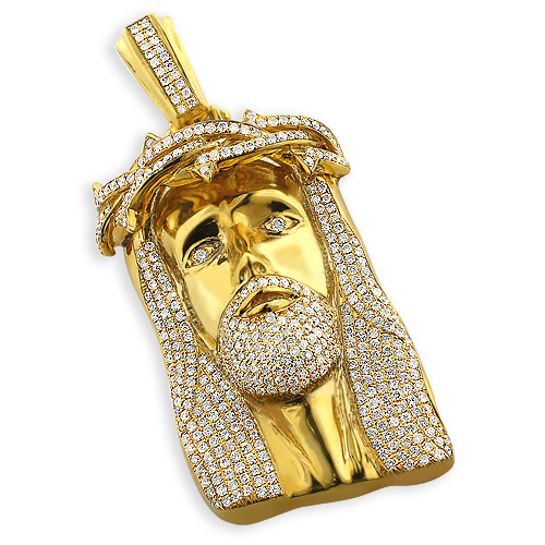 Hip hop jewelry diamond jesus piece face pendant 10k gold 113ct mozeypictures Images