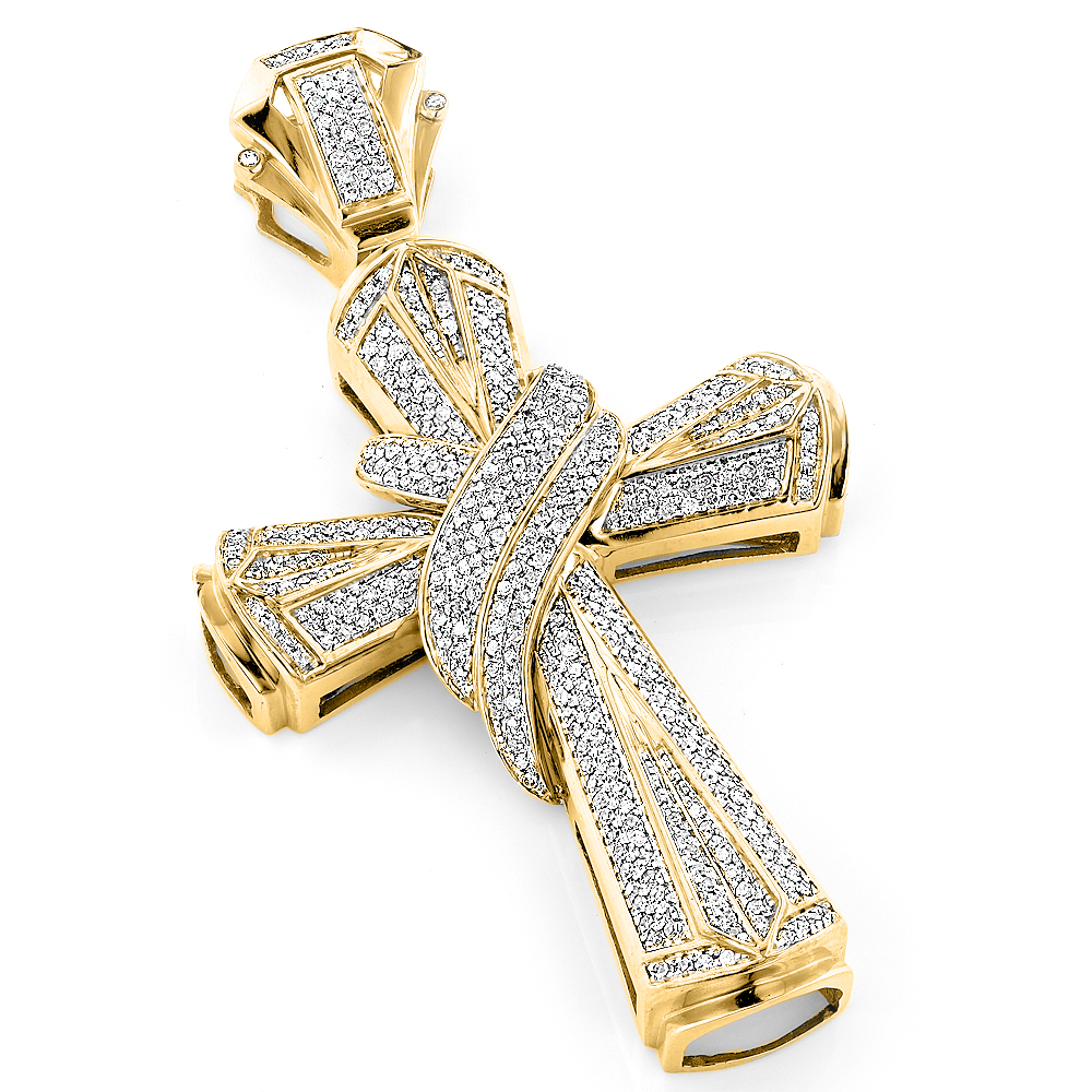 hip hop jewelry large 10k gold mens diamond cross. Black Bedroom Furniture Sets. Home Design Ideas