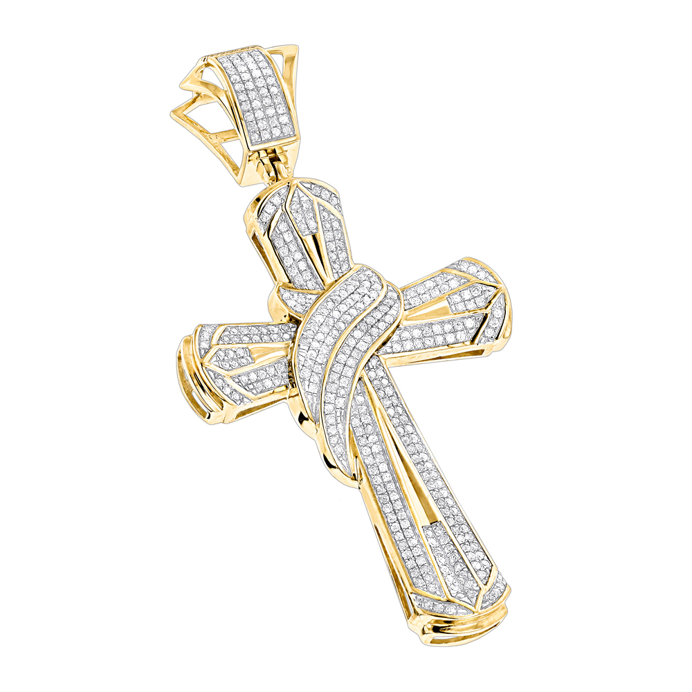 Hip Hop Jewelry: Large 10K Gold Mens Diamond Cross Necklace Pendant 1.0ct Yellow Image
