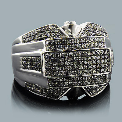 Hip Hop Jewelry: Mens Black Diamond Ring 1.25ct Silver