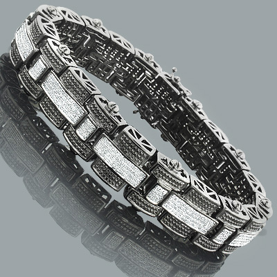 Hip Hop Jewelry: Mens Diamond Bracelet in Sterling Silver 3.25ct White Black Plating Main Image