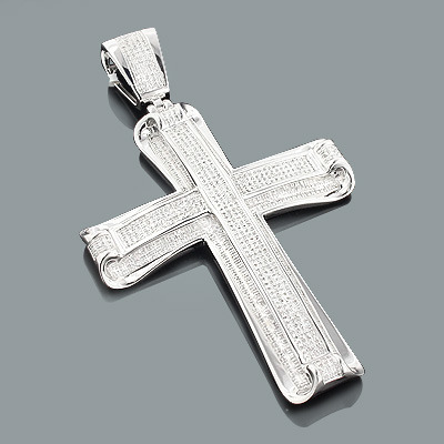 Hip Hop Jewelry: Mens Diamond Cross Pendant 1.46ct Silver Main Image