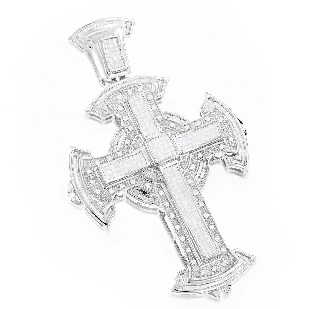 Hip Hop Jewelry: Mens Diamond Cross Pendant 2.97ct