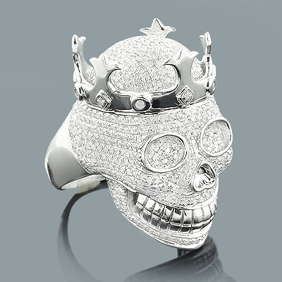 Hip Hop Jewelry: Mens Diamond Skull Ring 2.75ct Silver Main Image