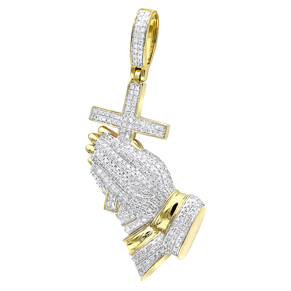 Hip Hop Jewelry Praying Hands and Cross Diamond Pendant for Men 10k Gold Yellow Image
