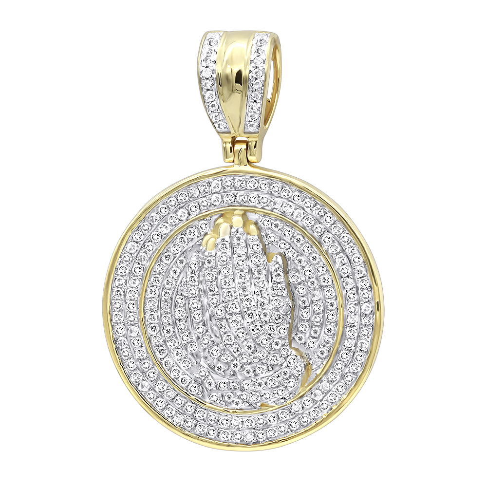 Hip Hop Jewelry: Praying Hands Diamond Pendant for Men 14k Gold Medallion Yellow Image