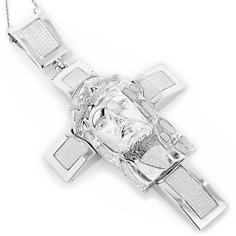 Hip Hop Jewelry: Sterling Silver Diamond Jesus Face Cross Pendant 1.54ct White Image