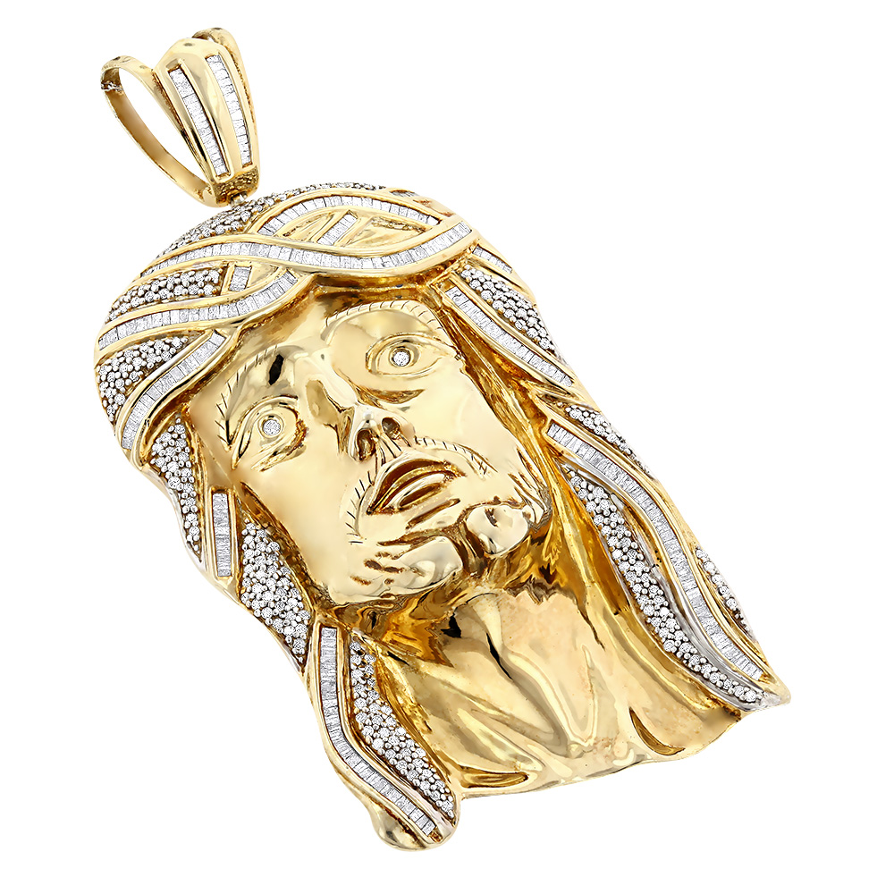 Hip hop jewelry sterling silver diamond jesus face pendant 5ct mozeypictures Images