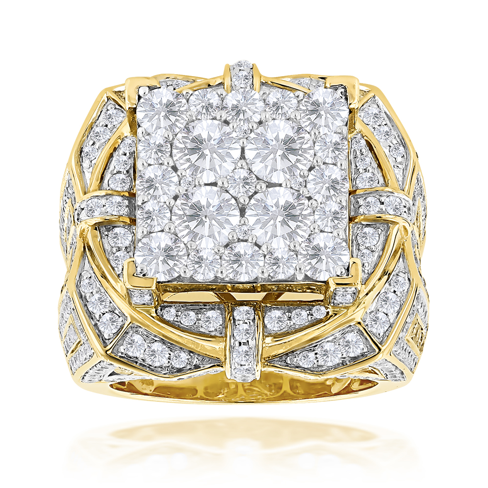 Hip Hop Rings: Unique Mens Diamond Ring 10ct 14K Gold Yellow Image