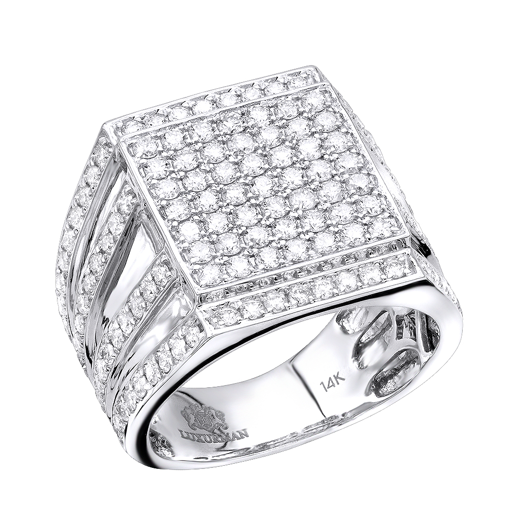 Hip Hop Square Diamond Mens Ring 2.3ct 14K Gold White Image
