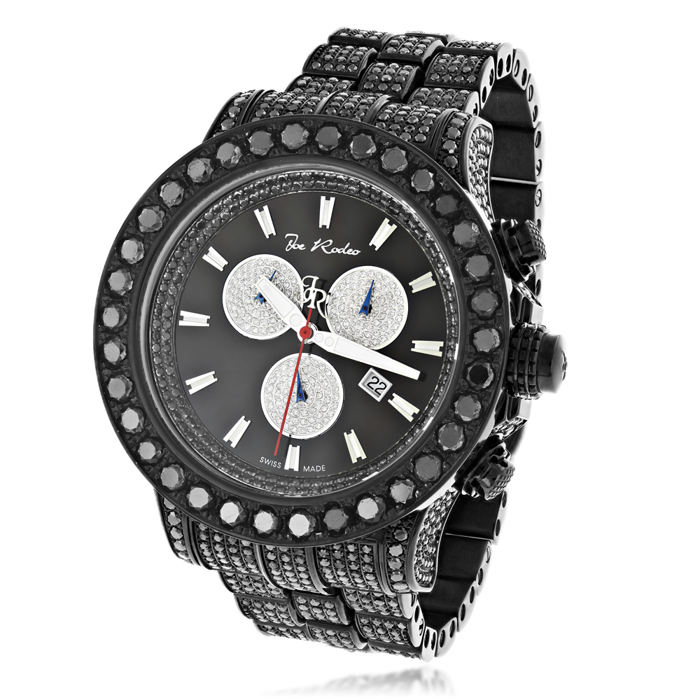 Hip-Hop Watches Custom Joe Rodeo Mens Black Diamond Watch 36.7ct Master Pilot Main Image