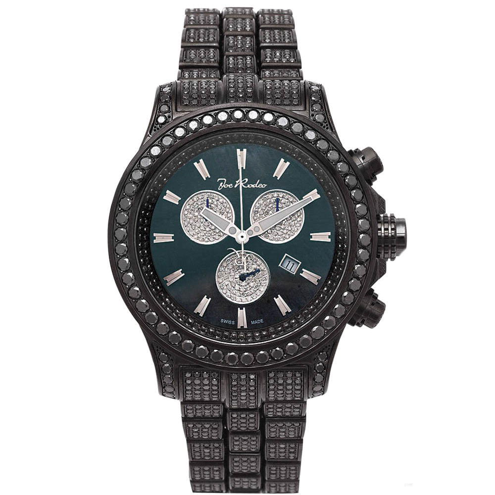 Hip Hop Watches Joe Rodeo Mens Black Diamond Watch 26.7 Main Image