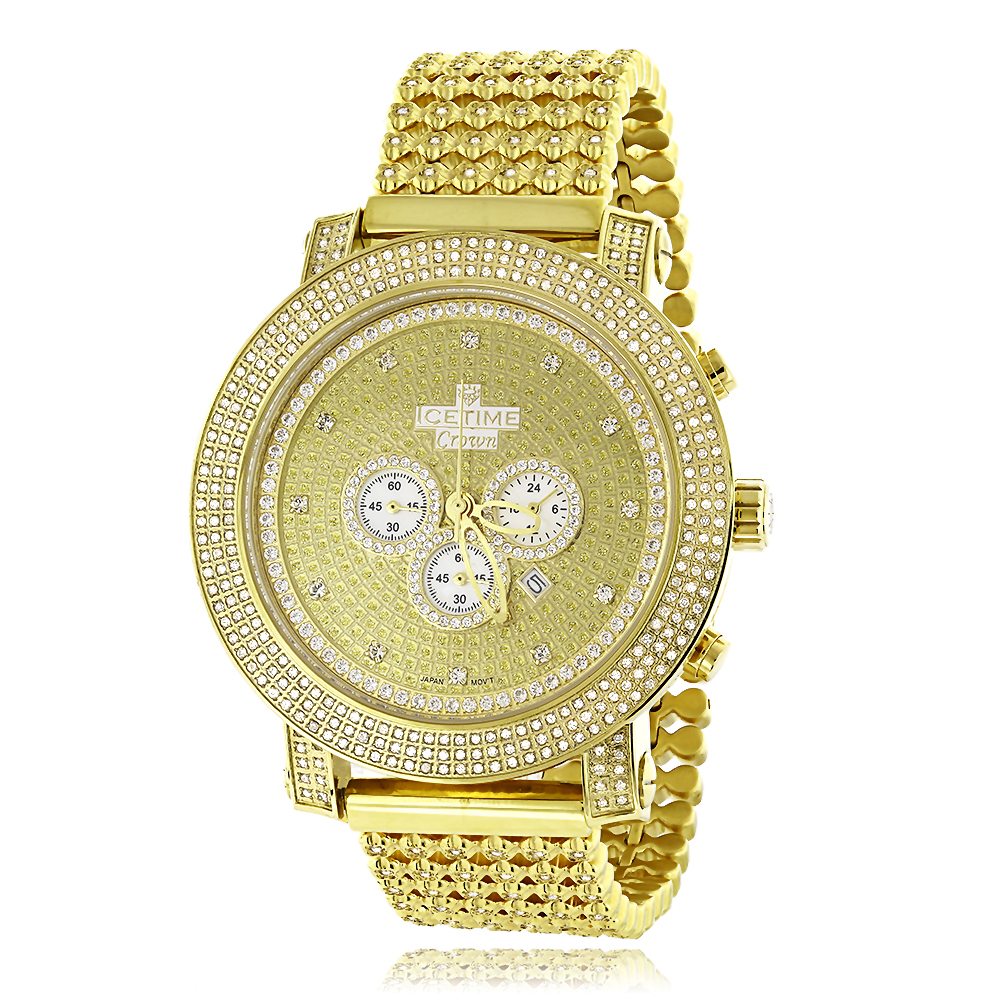 Hip Hop Watches: Mens Diamond Ice Time Crown Watch 8ct Yellow Gold Pltd