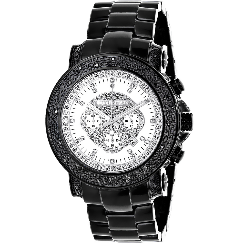 Hip Hop Watches: Oversized Luxurman Escalade Mens Black Diamond Watch 3/4ct Main Image