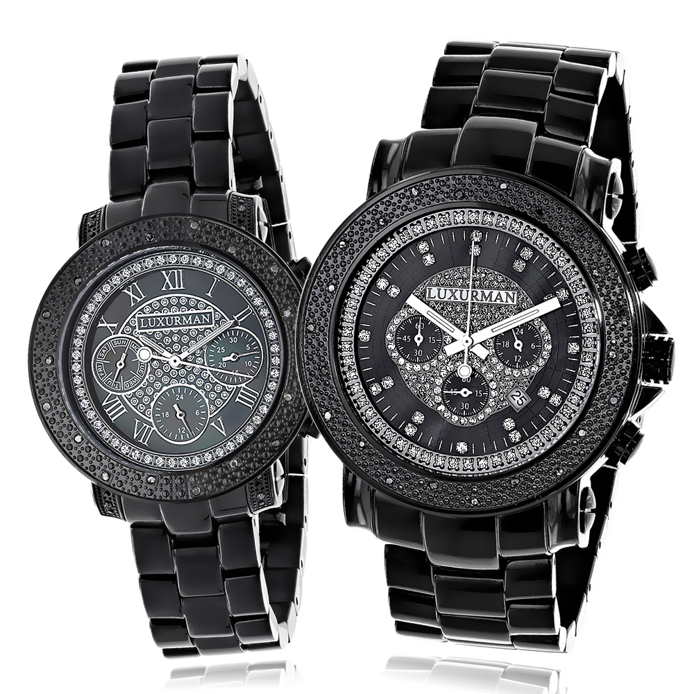 His and Hers Watches: Black Diamond Luxurman Watch Set 0.55ct Main Image