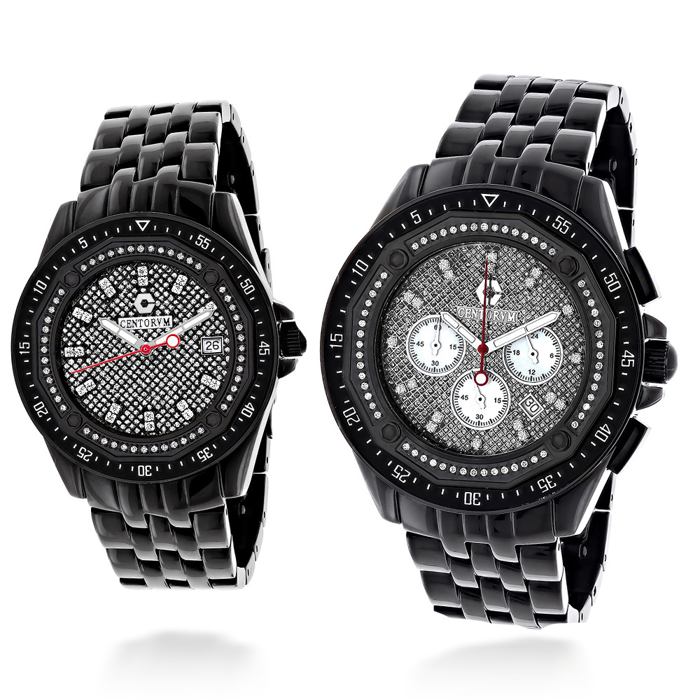 His and Hers Watches: Centorum Chronograph Diamond Watch Set 1.05ct Black Main Image