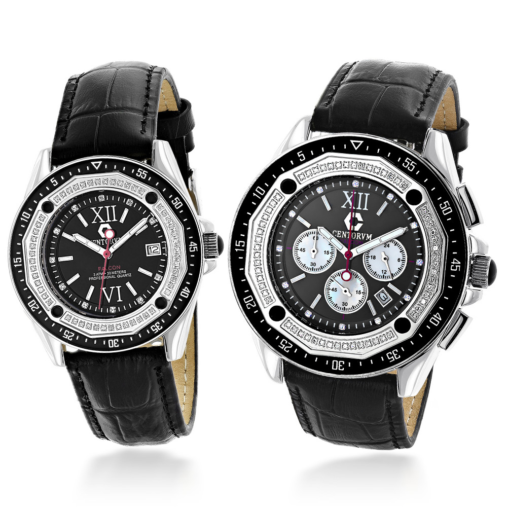 His and Hers Watches: Centorum Diamond Watch Set in Black 1.05ct Main Image