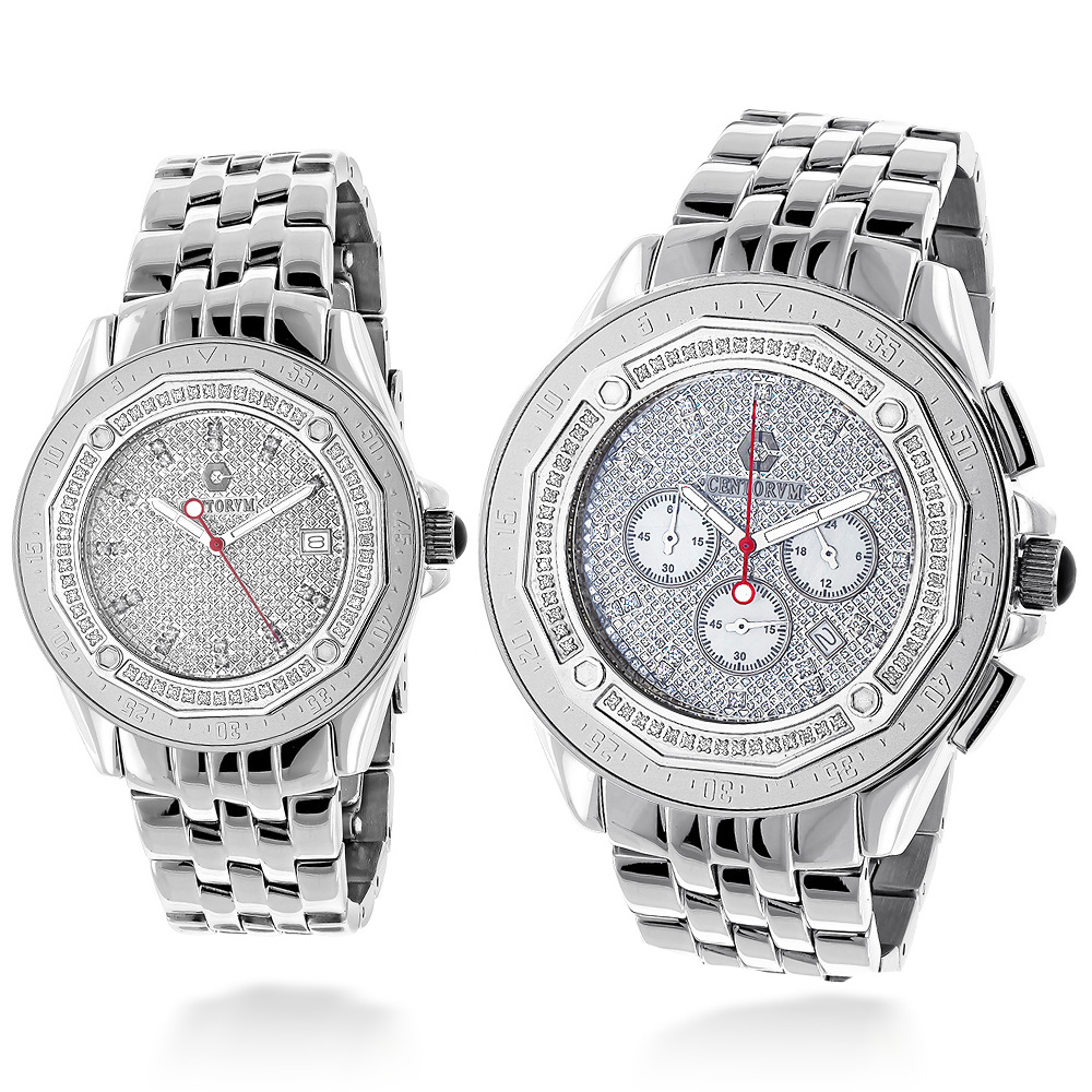 His and Hers Watches: Centorum Matching Diamond Watch Set 1.05ct