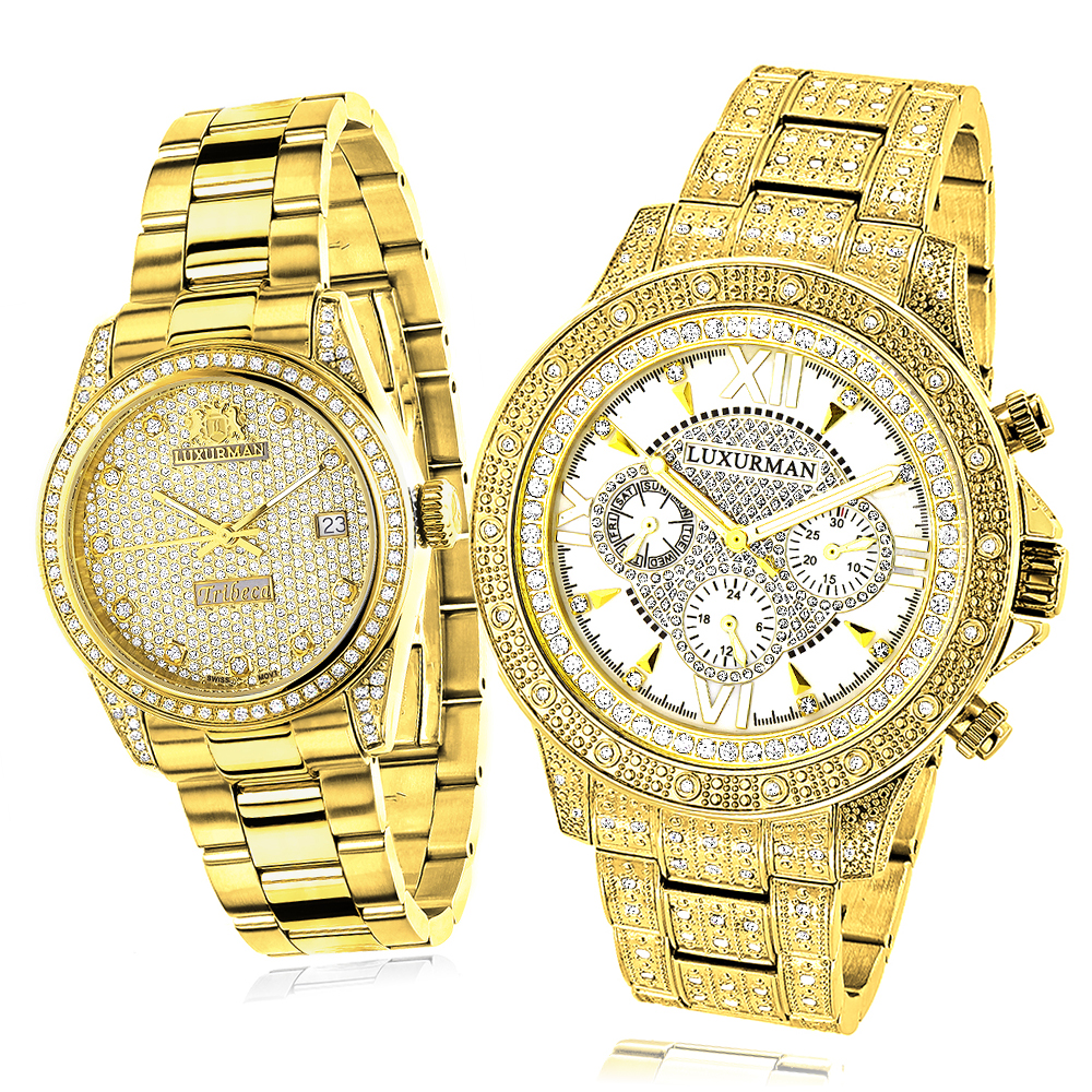 His and Hers Watches: Classic Luxurman Diamond Watch Set 2.75ct Main Image