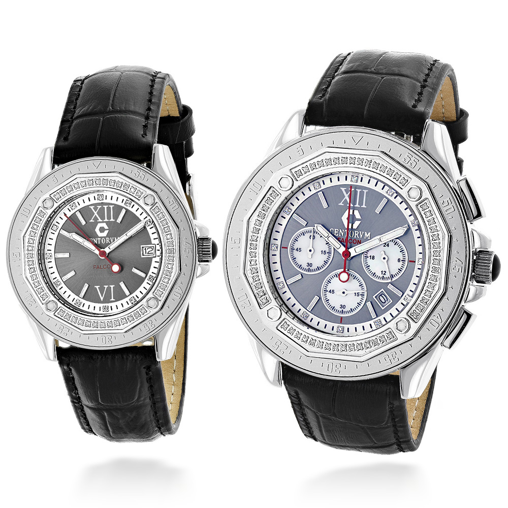 His and Hers Watches: Diamond Centorum Matching Watch Set 1.05 Main Image