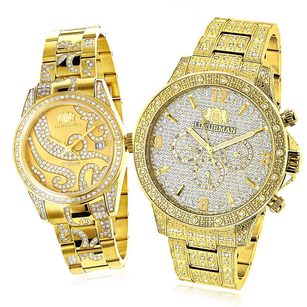 His and Hers Watches: Luxurman Diamond Watch Set Yellow Gold Plated 4.25ct Main Image
