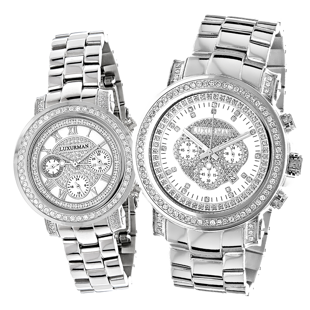 His and Hers Watches: Luxurman Oversized Diamond Watch Set 4.5ct Main Image