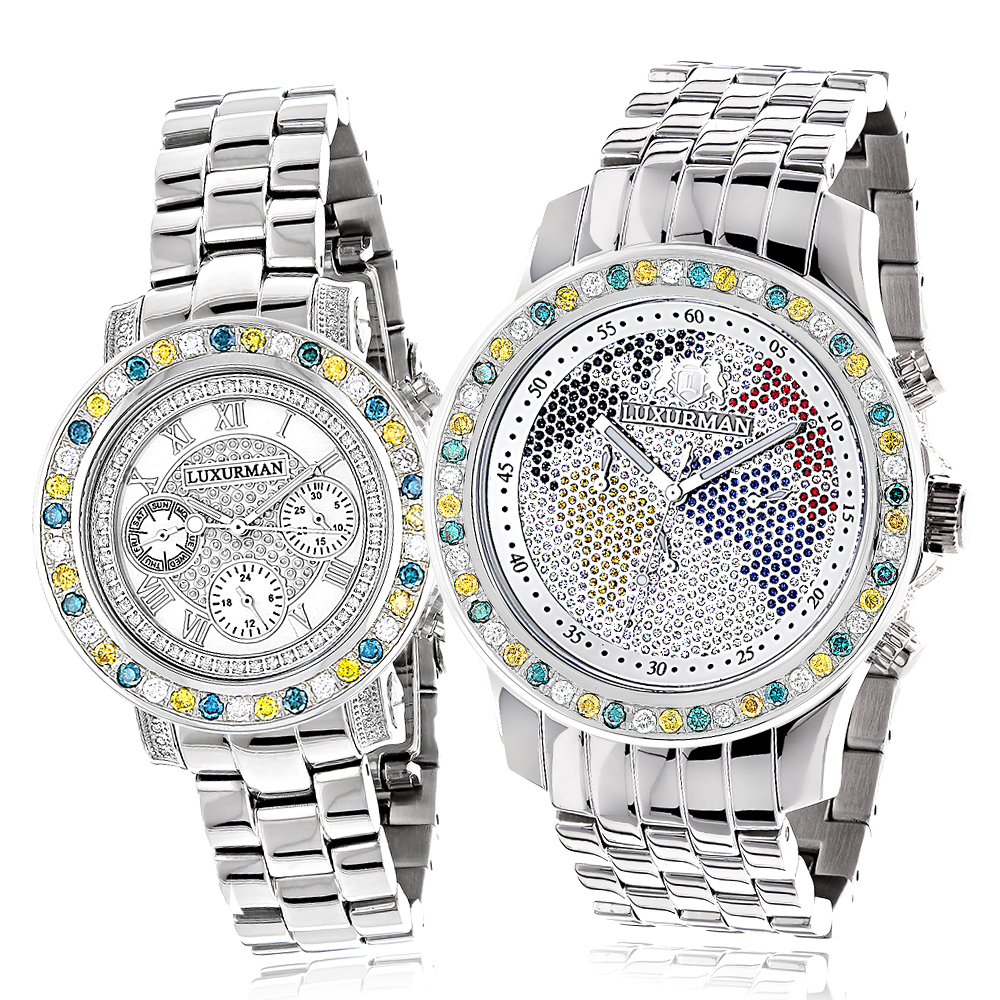 His and Hers Watches: Luxurman White Yellow Blue Diamonds Watch Set 6.25ct Main Image