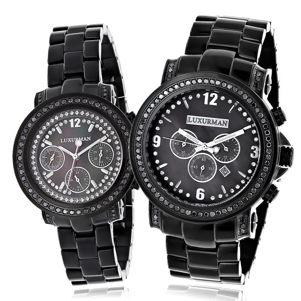 His and Hers Watches: Oversized Black Diamond Watch Set by Luxurman 5.15ct Main Image