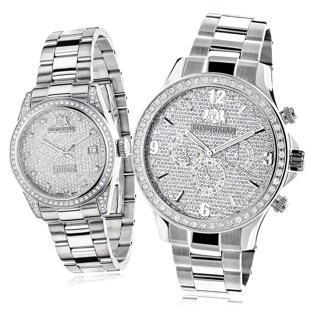His and Hers Watches: Stainless Steel Luxurman Diamond Watch Set 3.5ct Main Image