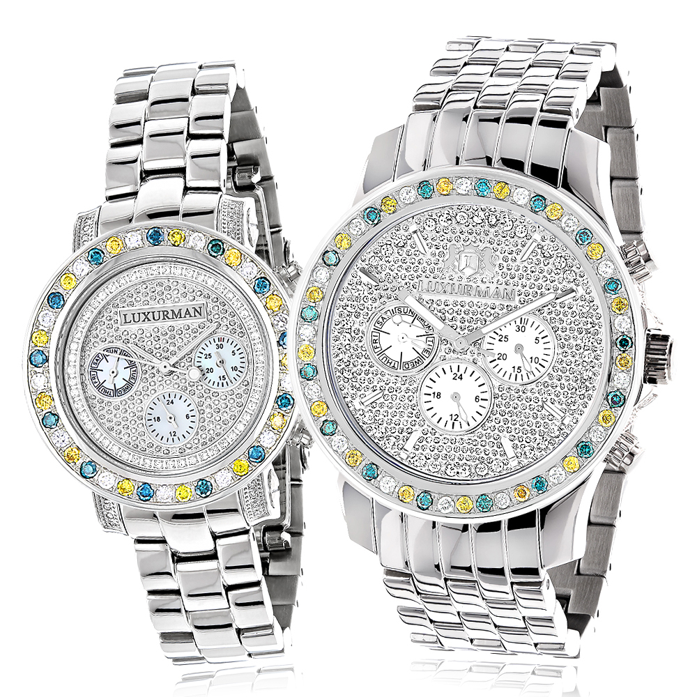 His and Hers Watches: White Blue Yellow Diamond Watch Set 5.25ct Luxurman Main Image