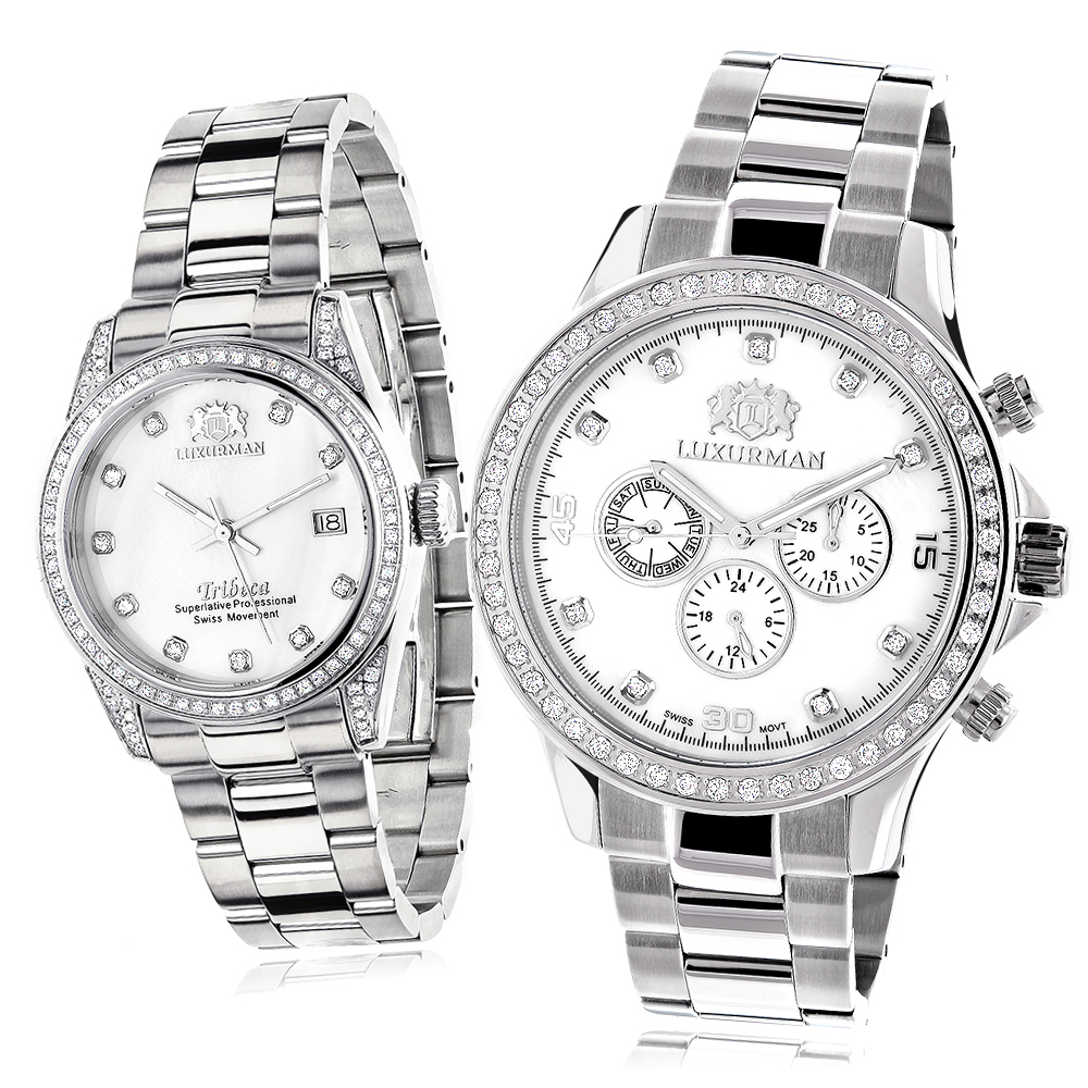 His and Hers Watches: White Gold Pltd Luxurman Diamond Watch Set 3.5ct Main Image