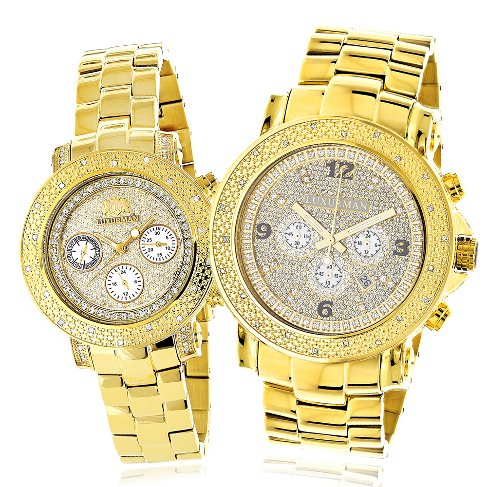 His and Hers Watches: Yellow Gold Plated Luxurman Diamond Watch Set 0.55ct