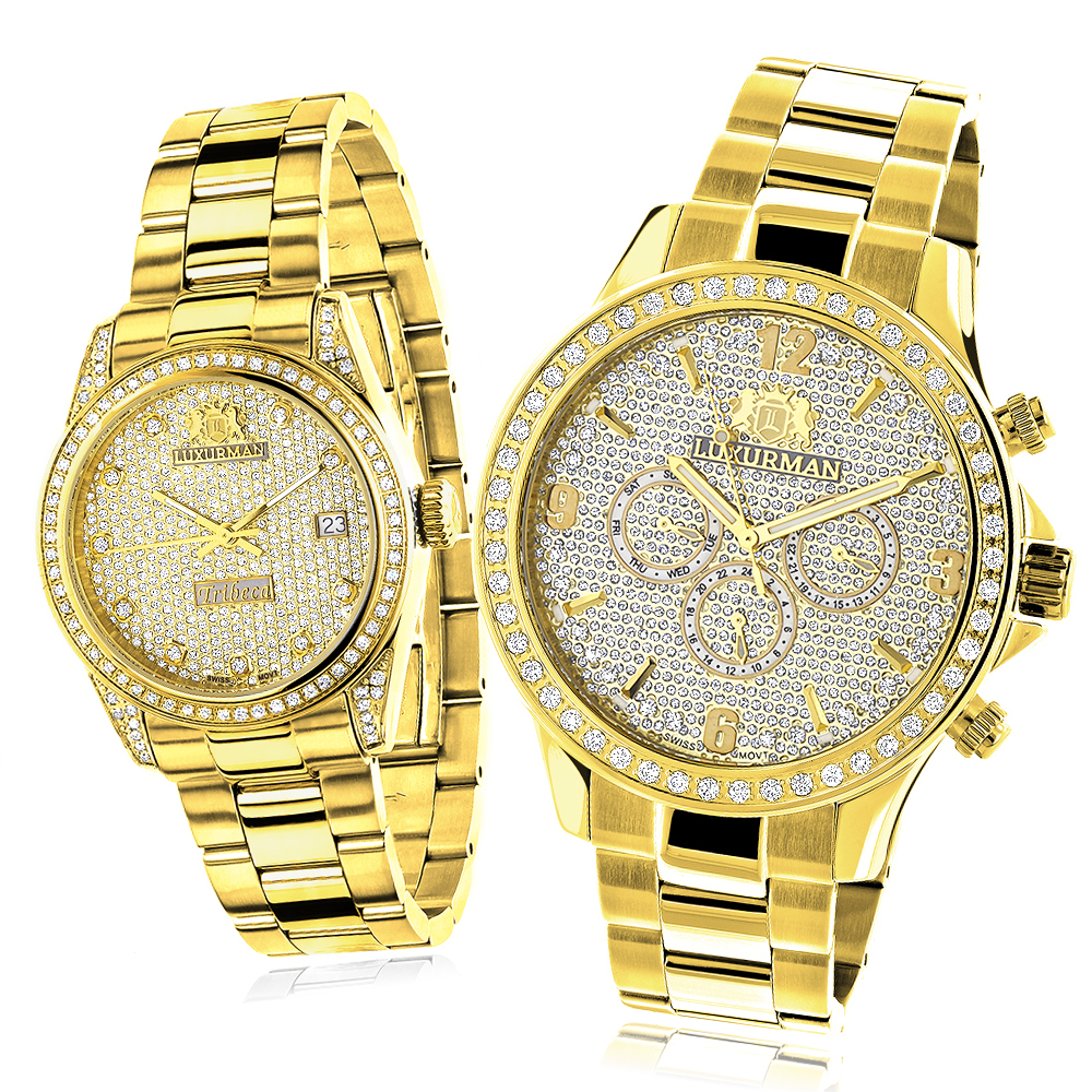 His and Hers Watches: Yellow Gold Plated Luxurman Diamond Watch Set 3.5ct Main Image
