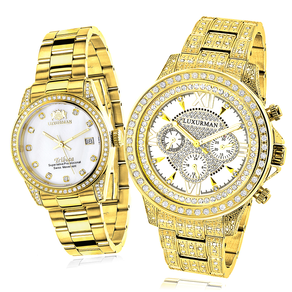 His and Hers Watches: Yellow Gold Plated Luxurman Diamond Watches 4.5ct Main Image