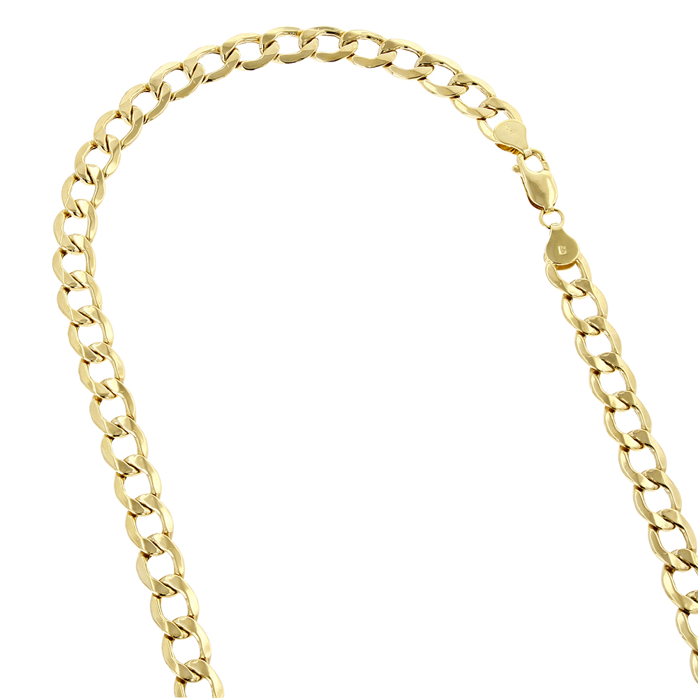 Hollow 10k Gold Curb Chain For Men 6mm Wide